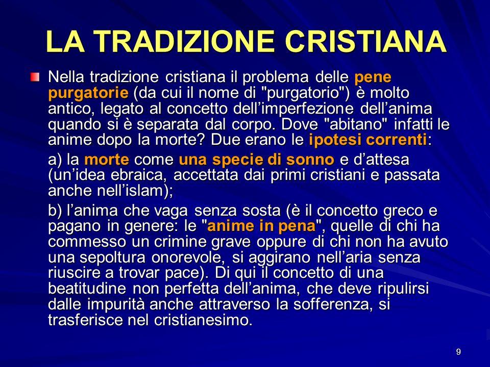 9 LA TRADIZIONE CRISTIANA Nella tradizione cristiana il problema delle pene purgatorie (da cui il nome di