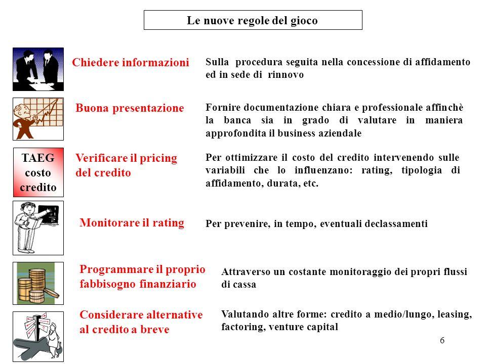 6 Le nuove regole del gioco Chiedere informazioni Sulla procedura seguita nella concessione di affidamento ed in sede di rinnovo Buona presentazione F