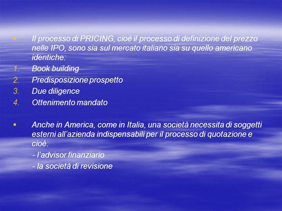 Il processo di PRICING, cioè il processo di definizione del prezzo nelle IPO, sono sia sul mercato italiano sia su quello americano identiche: 1. 1.Bo