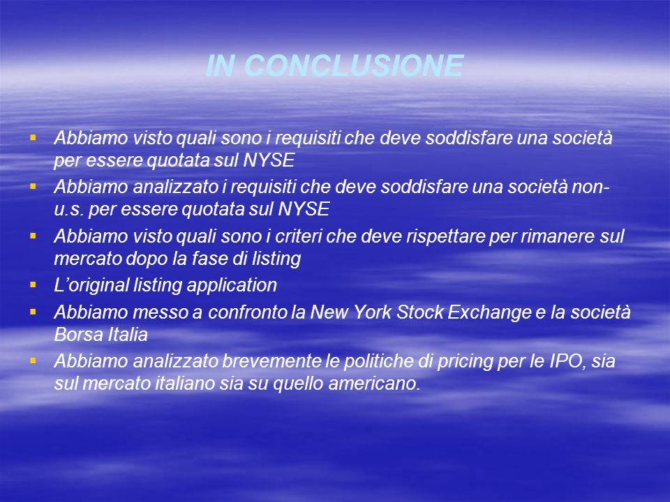 IN CONCLUSIONE Abbiamo visto quali sono i requisiti che deve soddisfare una società per essere quotata sul NYSE Abbiamo analizzato i requisiti che dev