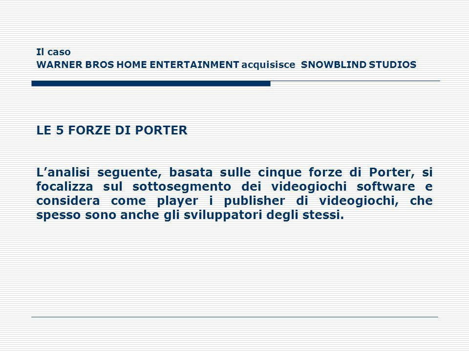 Il caso WARNER BROS HOME ENTERTAINMENT acquisisce SNOWBLIND STUDIOS LE 5 FORZE DI PORTER Lanalisi seguente, basata sulle cinque forze di Porter, si fo