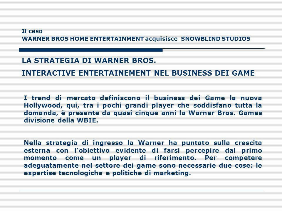 Il caso WARNER BROS HOME ENTERTAINMENT acquisisce SNOWBLIND STUDIOS LA STRATEGIA DI WARNER BROS. INTERACTIVE ENTERTAINEMENT NEL BUSINESS DEI GAME I tr