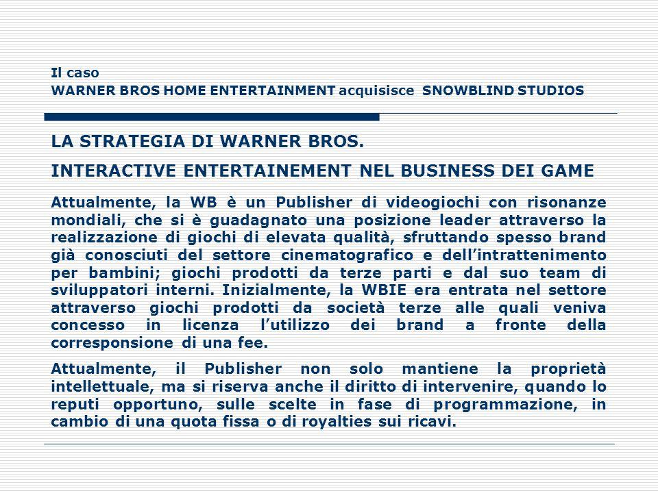 Il caso WARNER BROS HOME ENTERTAINMENT acquisisce SNOWBLIND STUDIOS LA STRATEGIA DI WARNER BROS. INTERACTIVE ENTERTAINEMENT NEL BUSINESS DEI GAME Attu