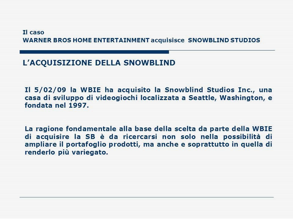Il caso WARNER BROS HOME ENTERTAINMENT acquisisce SNOWBLIND STUDIOS LACQUISIZIONE DELLA SNOWBLIND Il 5/02/09 la WBIE ha acquisito la Snowblind Studios