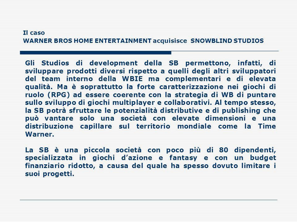 Il caso WARNER BROS HOME ENTERTAINMENT acquisisce SNOWBLIND STUDIOS Gli Studios di development della SB permettono, infatti, di sviluppare prodotti di