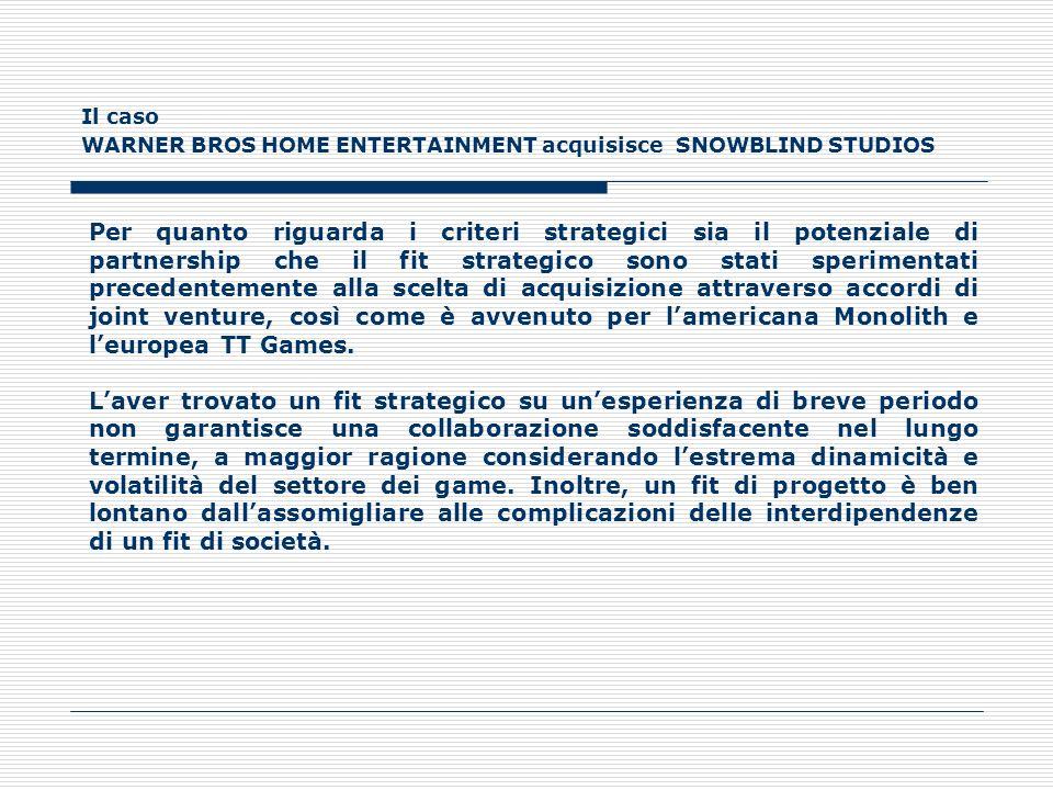Il caso WARNER BROS HOME ENTERTAINMENT acquisisce SNOWBLIND STUDIOS Per quanto riguarda i criteri strategici sia il potenziale di partnership che il f