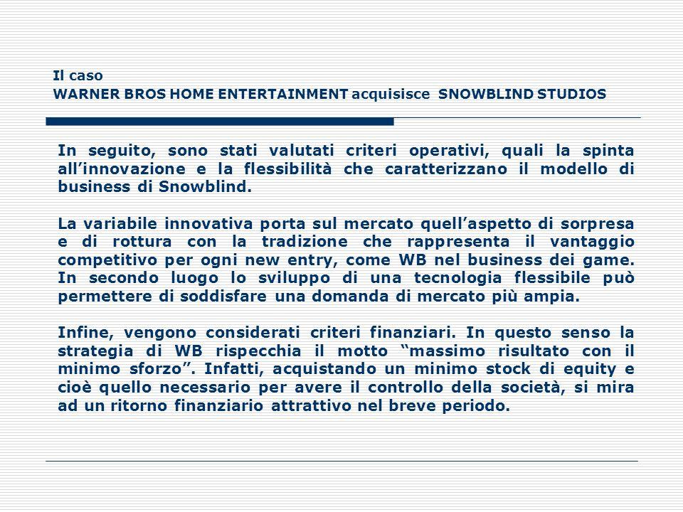 Il caso WARNER BROS HOME ENTERTAINMENT acquisisce SNOWBLIND STUDIOS In seguito, sono stati valutati criteri operativi, quali la spinta allinnovazione