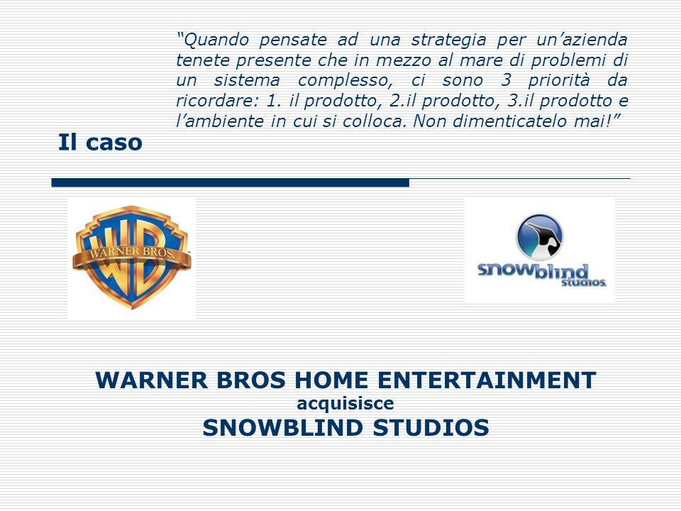 Il caso WARNER BROS HOME ENTERTAINMENT acquisisce SNOWBLIND STUDIOS Il punto di partenza: i fatti (1/3) Kevin Tsujihara di Warner Bros Home Entertainment group ha annunciato lacquisizione di SnowblindStudios, casa di sviluppo indipendente specializzata in giochi dazione e fantasy.