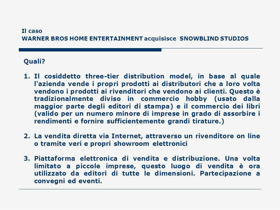 Il caso WARNER BROS HOME ENTERTAINMENT acquisisce SNOWBLIND STUDIOS Quali? 1.Il cosiddetto three-tier distribution model, in base al quale l'azienda v