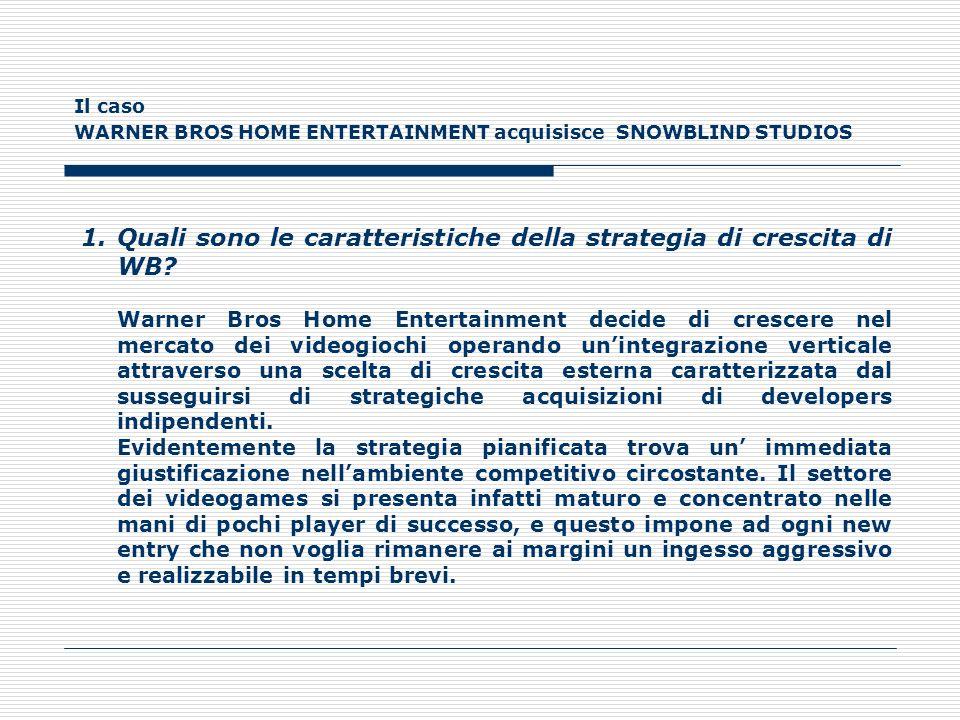Il caso WARNER BROS HOME ENTERTAINMENT acquisisce SNOWBLIND STUDIOS 1.Quali sono le caratteristiche della strategia di crescita di WB? Warner Bros Hom