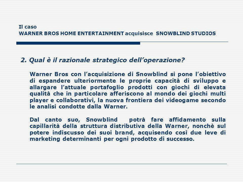 Il caso WARNER BROS HOME ENTERTAINMENT acquisisce SNOWBLIND STUDIOS 2. Qual è il razionale strategico delloperazione? Warner Bros con lacquisizione di