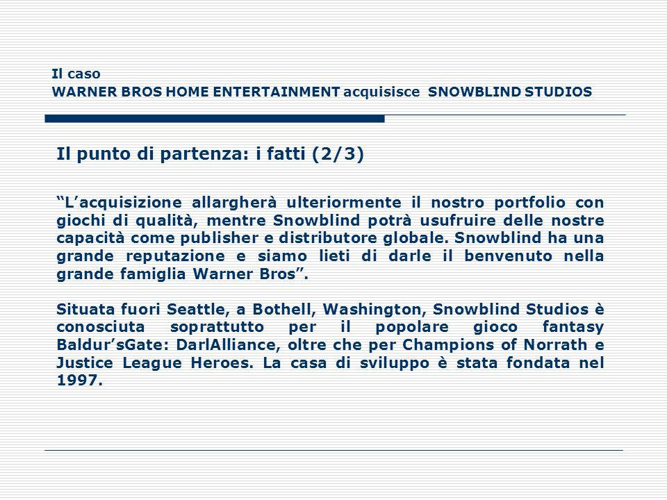 Il caso WARNER BROS HOME ENTERTAINMENT acquisisce SNOWBLIND STUDIOS Il punto di partenza: i fatti (3/3) Lacquisizione di Snowblind è una pietra miliare per il nostro business game perché ci consente di espandere ulteriormente le nostre capacità di sviluppo, ha dichiarato Martin Tremblay, Presidente di Warner Bros Interactive Entertainment.