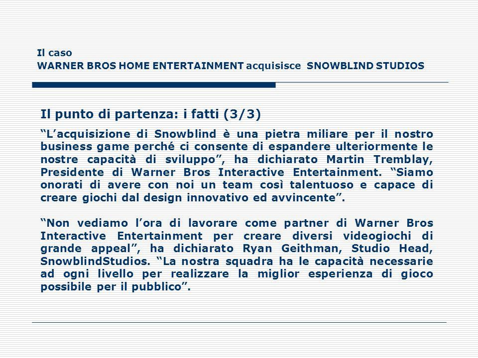 Il caso WARNER BROS HOME ENTERTAINMENT acquisisce SNOWBLIND STUDIOS LA CATENA DEL VALORE DELLA WARNER BROS INTERACTIVE ENTERTAINMENT Storicamente, gli sviluppatori e i publisher rappresentavano due parti separate del processo di sviluppo del gioco.