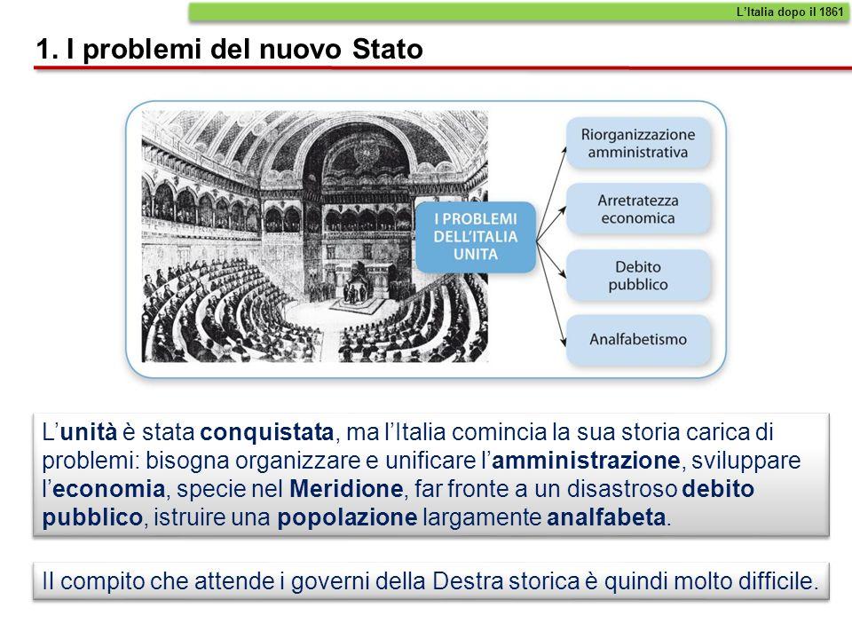 Lopposizione è rappresentata dalla Sinistra storica, formata dai democratici - ex repubblicani mazziniani o garibaldini che hanno ormai accettato la monarchia.