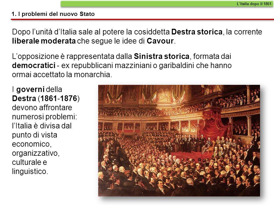 La Destra decide di attuare una politica di accentramento, applicando al nuovo Stato il sistema amministrativo e di governo del Piemonte.