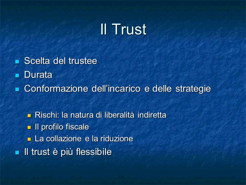 Il Trust Scelta del trustee Scelta del trustee Durata Durata Conformazione dellincarico e delle strategie Conformazione dellincarico e delle strategie