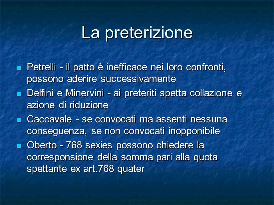 La preterizione Petrelli - il patto è inefficace nei loro confronti, possono aderire successivamente Petrelli - il patto è inefficace nei loro confron