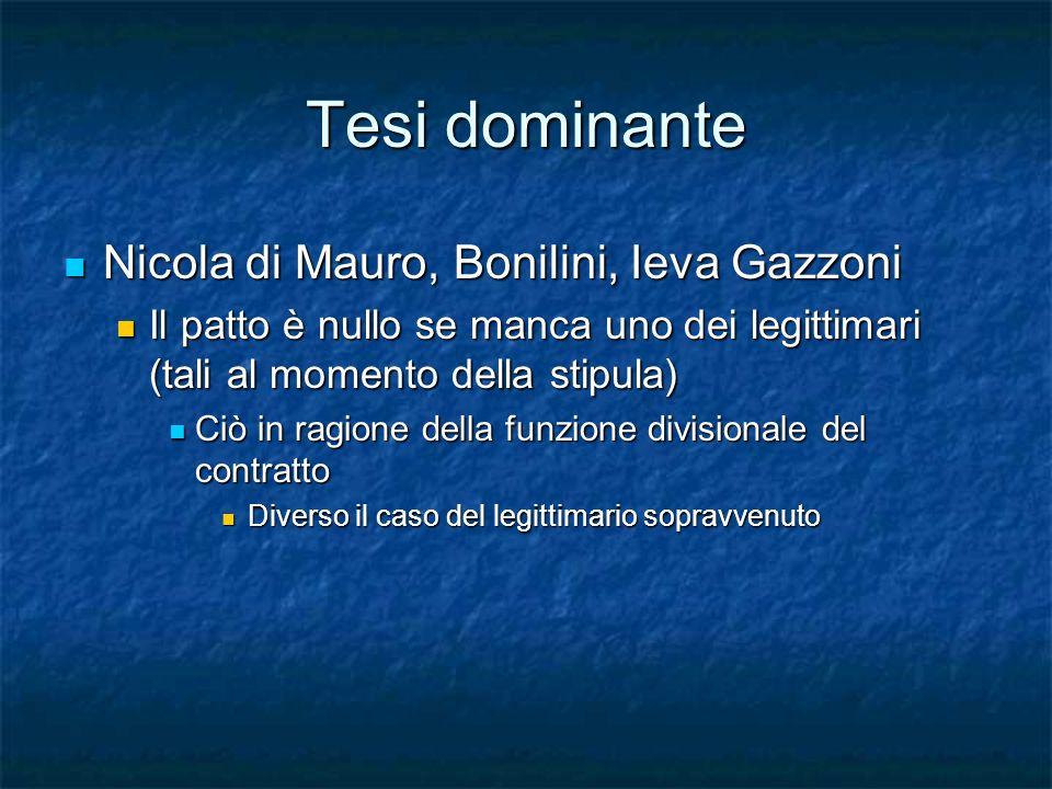 Tesi dominante Nicola di Mauro, Bonilini, Ieva Gazzoni Nicola di Mauro, Bonilini, Ieva Gazzoni Il patto è nullo se manca uno dei legittimari (tali al