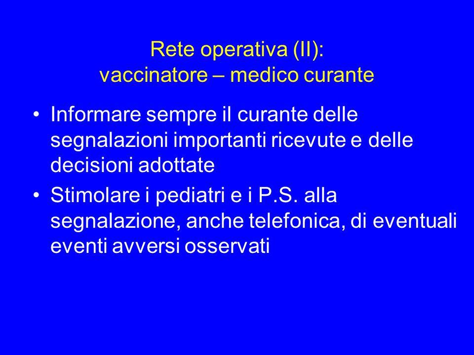 Rete operativa (II): vaccinatore – medico curante Informare sempre il curante delle segnalazioni importanti ricevute e delle decisioni adottate Stimol