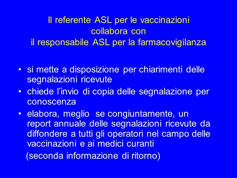 Il referente ASL per le vaccinazioni collabora con il responsabile ASL per la farmacovigilanza si mette a disposizione per chiarimenti delle segnalazi