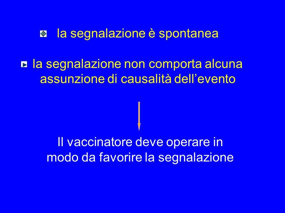 la segnalazione è spontanea la segnalazione non comporta alcuna assunzione di causalità dellevento Il vaccinatore deve operare in modo da favorire la