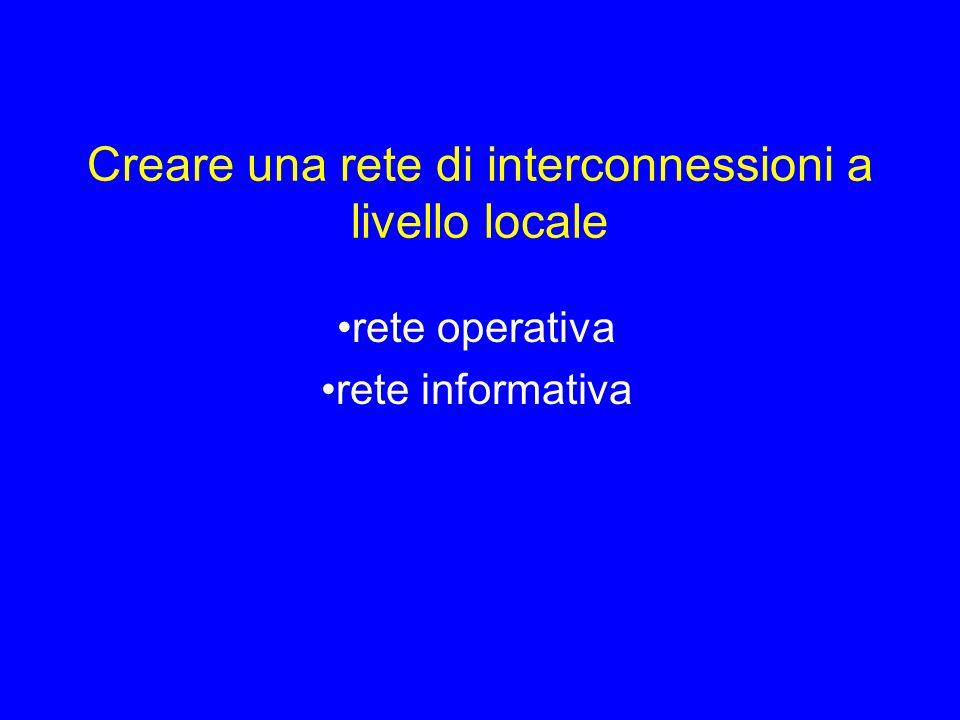 Creare una rete di interconnessioni a livello locale rete operativa rete informativa