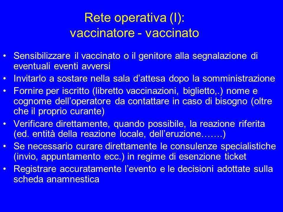 Rete operativa (II): vaccinatore – medico curante Informare sempre il curante delle segnalazioni importanti ricevute e delle decisioni adottate Stimolare i pediatri e i P.S.