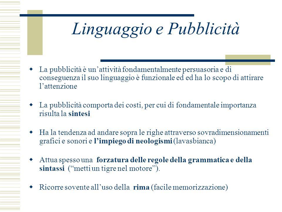 Linguaggio e Pubblicità La pubblicità è unattività fondamentalmente persuasoria e di conseguenza il suo linguaggio è funzionale ed ed ha lo scopo di a