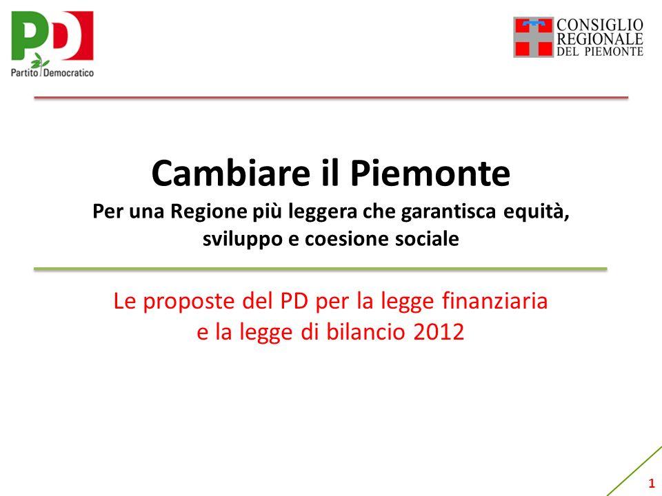 1 Cambiare il Piemonte Per una Regione più leggera che garantisca equità, sviluppo e coesione sociale Le proposte del PD per la legge finanziaria e la legge di bilancio 2012