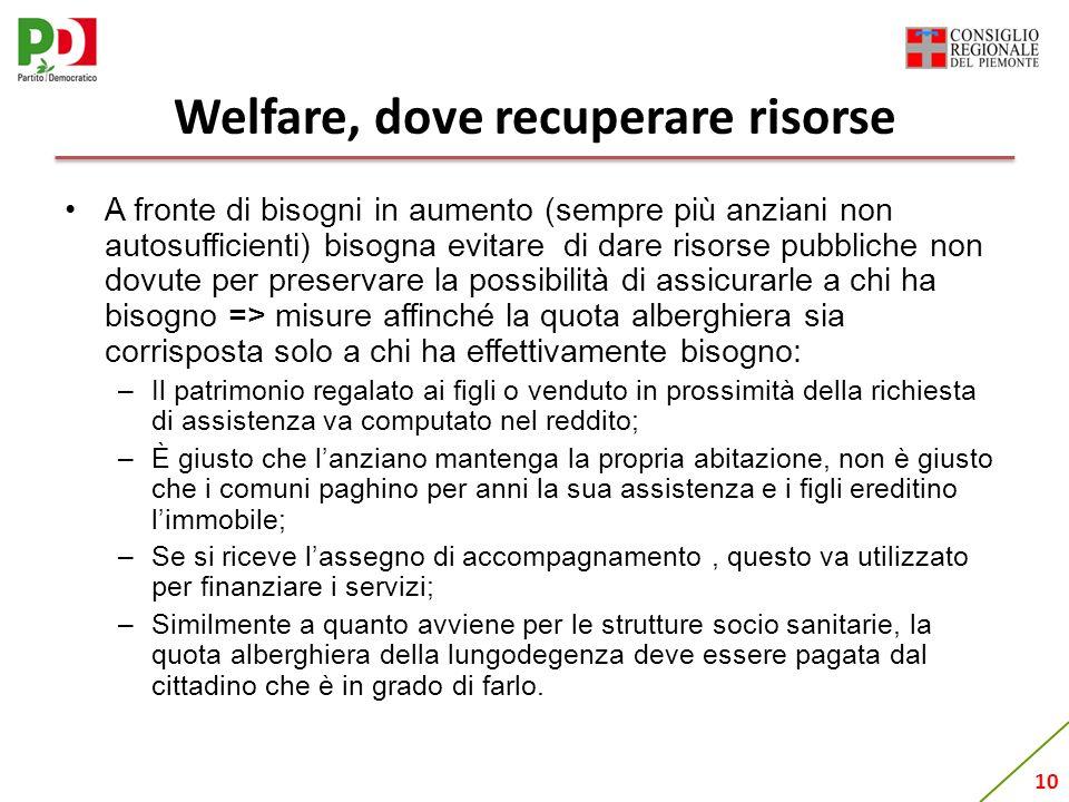 10 Welfare, dove recuperare risorse A fronte di bisogni in aumento (sempre più anziani non autosufficienti) bisogna evitare di dare risorse pubbliche