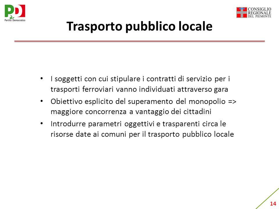 14 Trasporto pubblico locale I soggetti con cui stipulare i contratti di servizio per i trasporti ferroviari vanno individuati attraverso gara Obietti