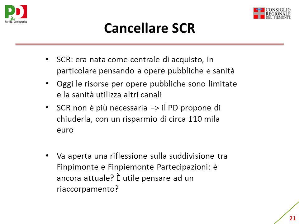 21 Cancellare SCR SCR: era nata come centrale di acquisto, in particolare pensando a opere pubbliche e sanità Oggi le risorse per opere pubbliche sono