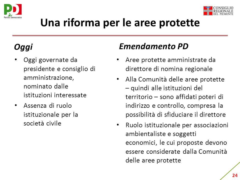 24 Una riforma per le aree protette Oggi governate da presidente e consiglio di amministrazione, nominato dalle istituzioni interessate Assenza di ruo