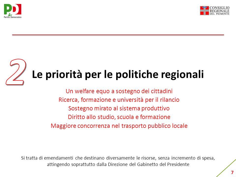 7 Le priorità per le politiche regionali Un welfare equo a sostegno dei cittadini Ricerca, formazione e università per il rilancio Sostegno mirato al