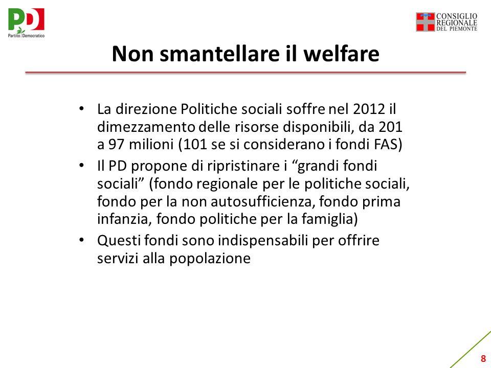 8 Non smantellare il welfare La direzione Politiche sociali soffre nel 2012 il dimezzamento delle risorse disponibili, da 201 a 97 milioni (101 se si