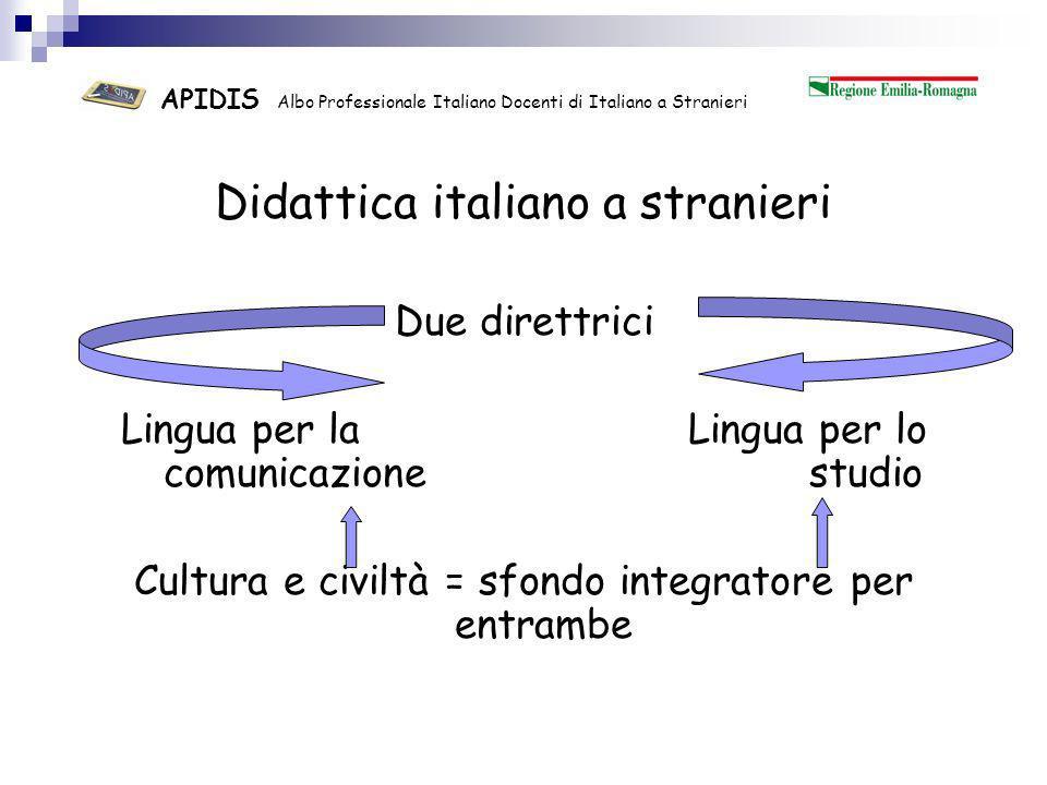 APIDIS Albo Professionale Italiano Docenti di Italiano a Stranieri La didattica dellitaliano a stranieri richiede il possesso di Conoscenze Competenze didattiche specifiche