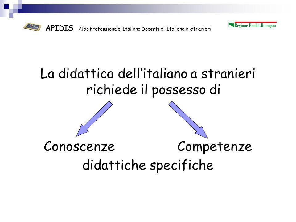 APIDIS Albo Professionale Italiano Docenti di Italiano a Stranieri Liscrizione ad un Albo Professionale definito secondo parametri di qualità anche internazionali garantisce il possesso di conoscenze e competenze didattiche indispensabili