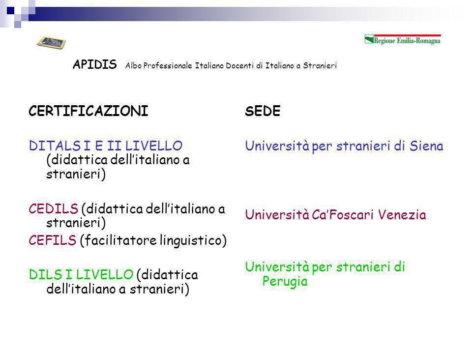 APIDIS Albo Professionale Italiano Docenti di Italiano a Stranieri Inoltre……….