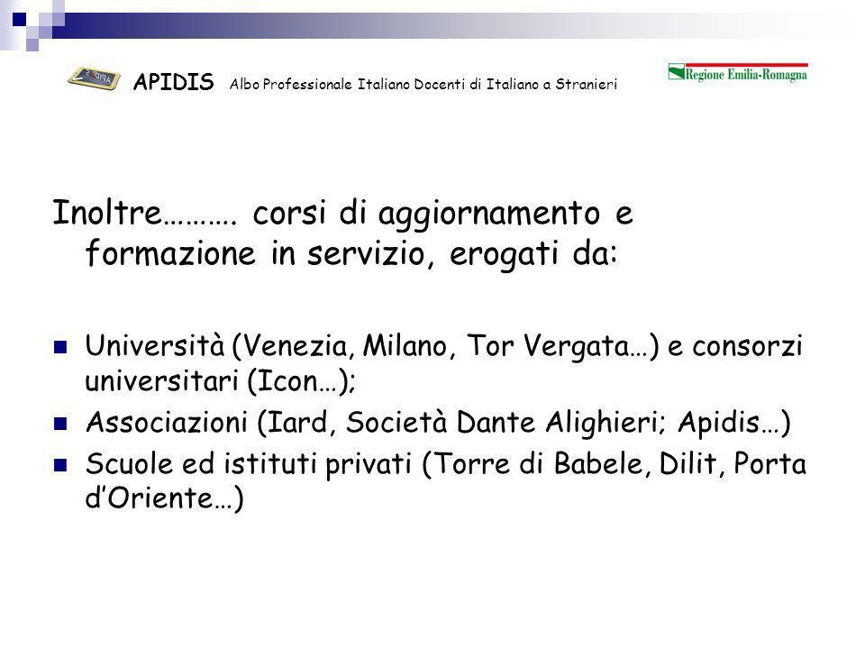 APIDIS Albo Professionale Italiano Docenti di Italiano a Stranieri Quanti sono gli insegnanti formati.