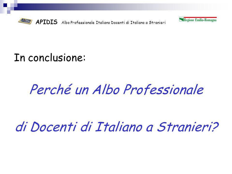 APIDIS Albo Professionale Italiano Docenti di Italiano a Stranieri 1.