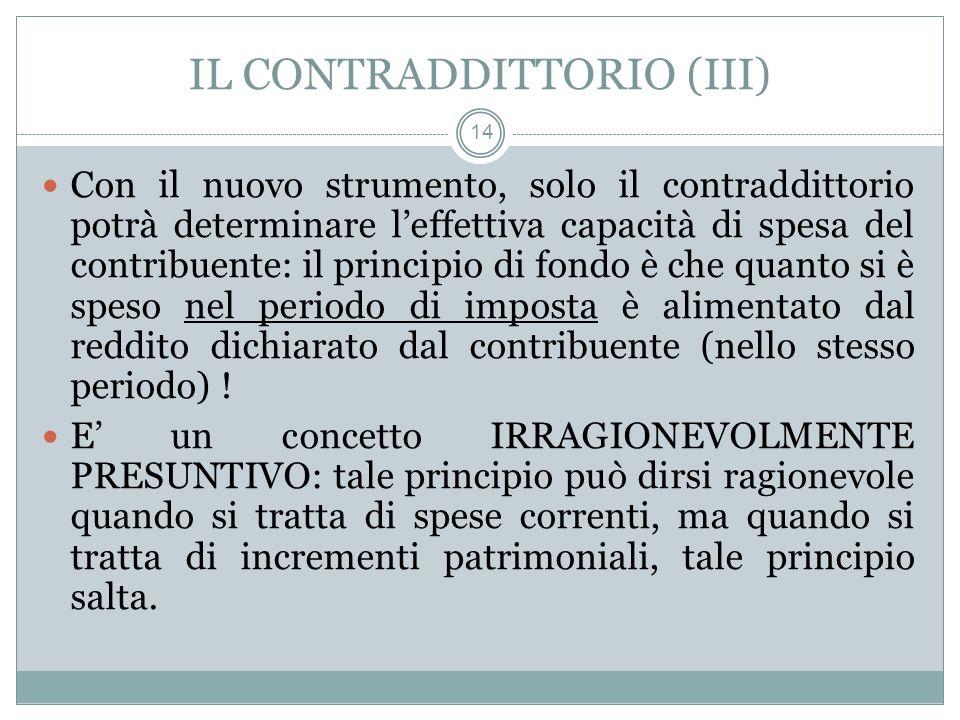 IL CONTRADDITTORIO (III) 14 Con il nuovo strumento, solo il contraddittorio potrà determinare leffettiva capacità di spesa del contribuente: il princi