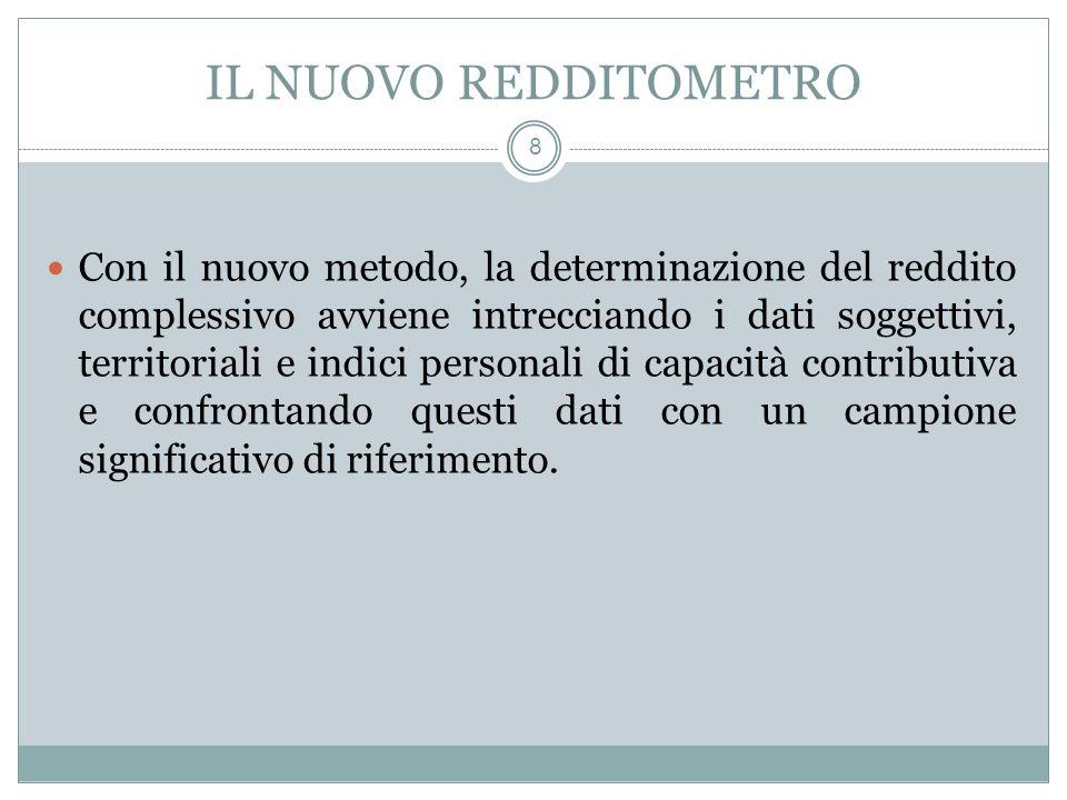 IL NUOVO REDDITOMETRO 8 Con il nuovo metodo, la determinazione del reddito complessivo avviene intrecciando i dati soggettivi, territoriali e indici p
