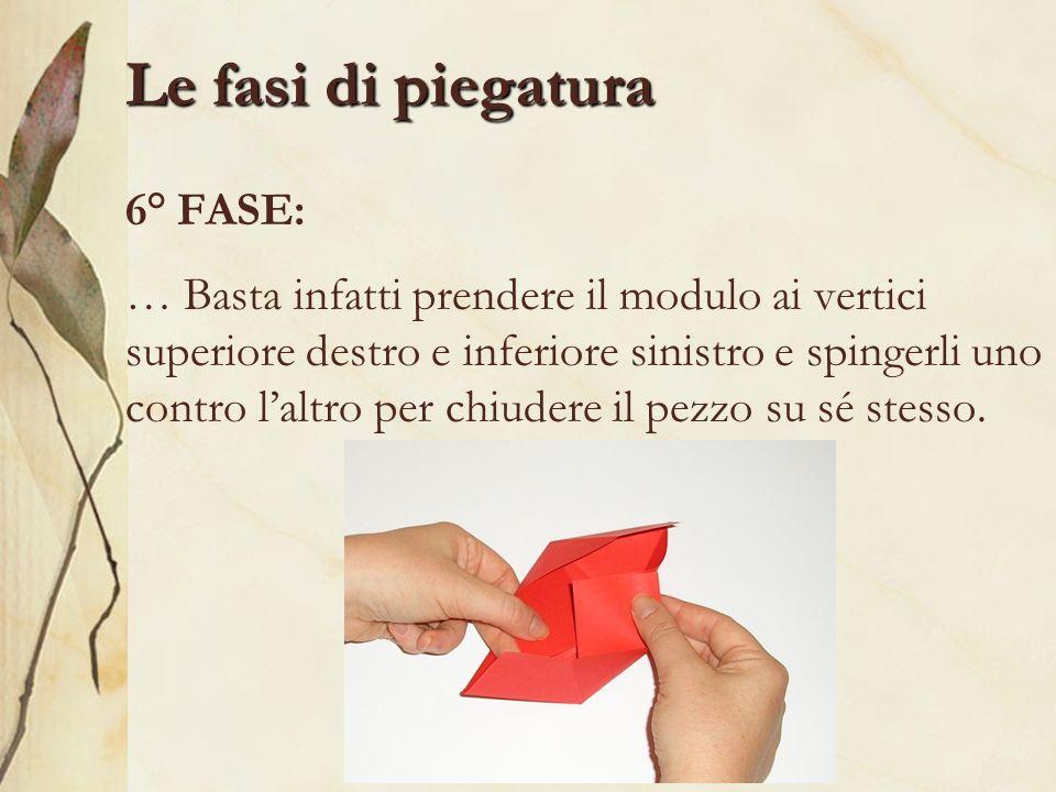 Le fasi di piegatura 6° FASE: … Basta infatti prendere il modulo ai vertici superiore destro e inferiore sinistro e spingerli uno contro laltro per ch