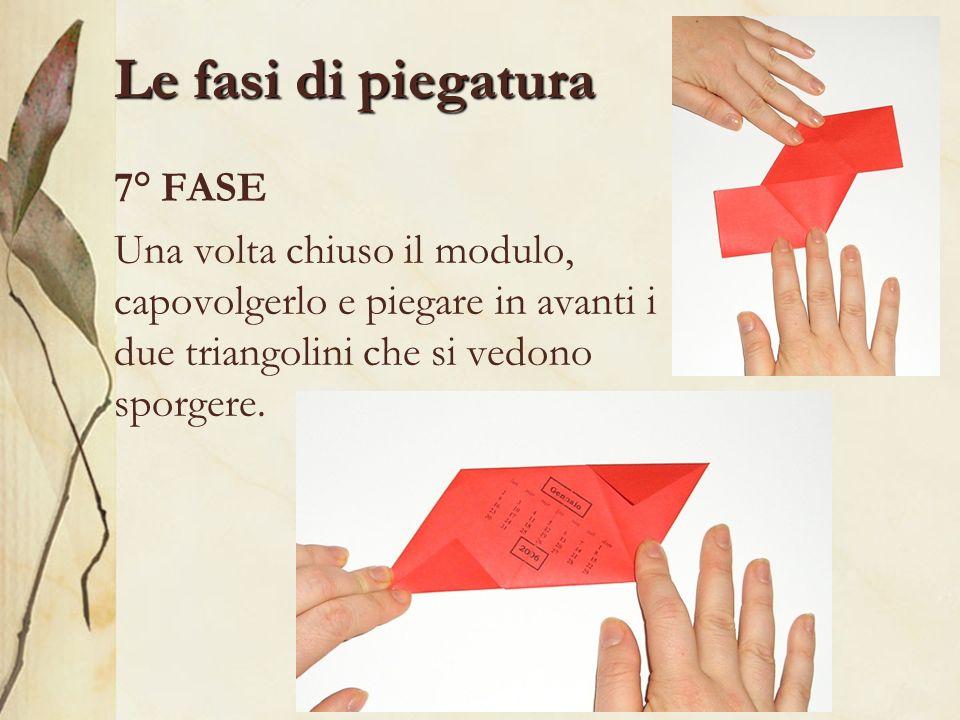 Le fasi di piegatura 7° FASE Una volta chiuso il modulo, capovolgerlo e piegare in avanti i due triangolini che si vedono sporgere.