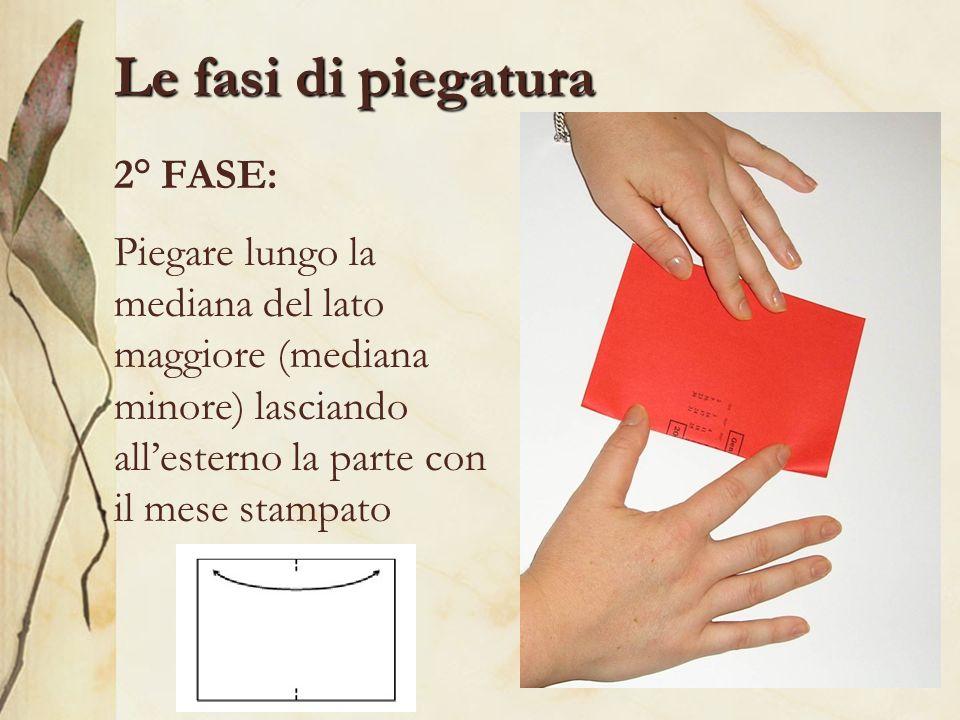Le fasi di piegatura 2° FASE: Piegare lungo la mediana del lato maggiore (mediana minore) lasciando allesterno la parte con il mese stampato