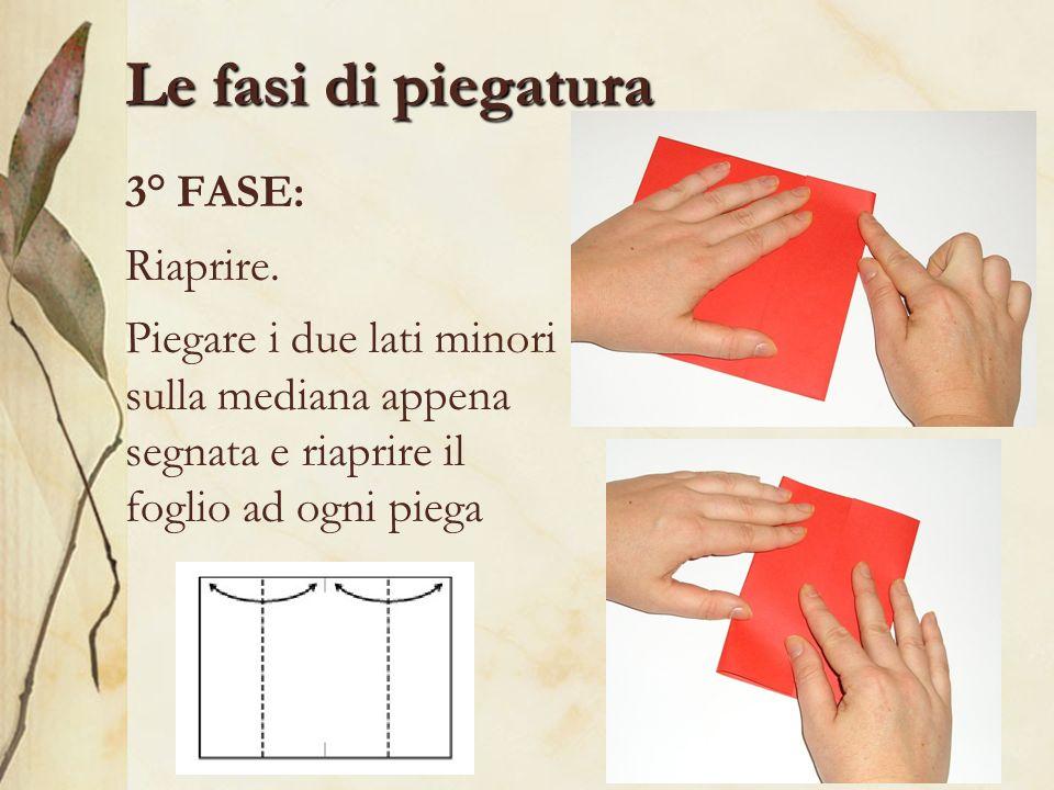 Le fasi di piegatura 3° FASE: Riaprire. Piegare i due lati minori sulla mediana appena segnata e riaprire il foglio ad ogni piega