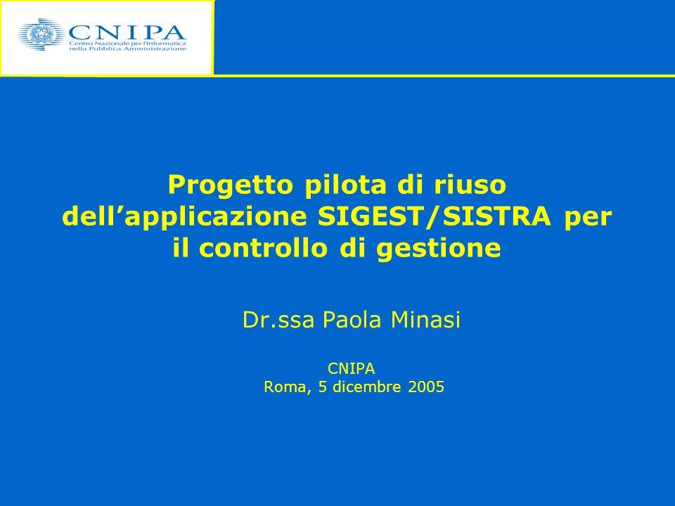 Progetto pilota di riuso dellapplicazione SIGEST/SISTRA per il controllo di gestione Dr.ssa Paola Minasi CNIPA Roma, 5 dicembre 2005
