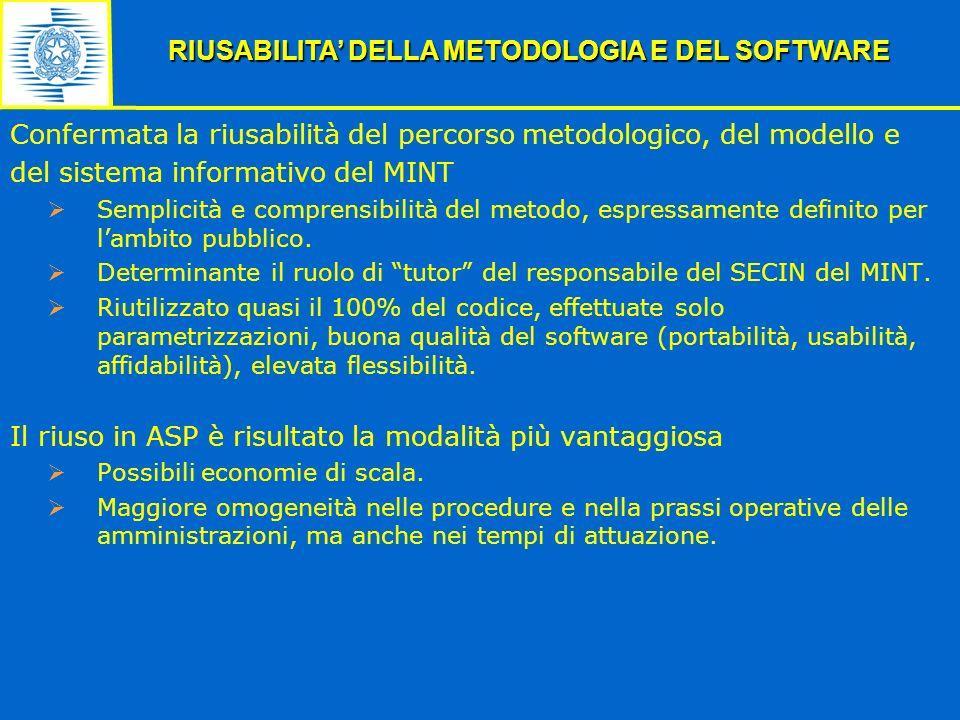 Confermata la riusabilità del percorso metodologico, del modello e del sistema informativo del MINT Semplicità e comprensibilità del metodo, espressam
