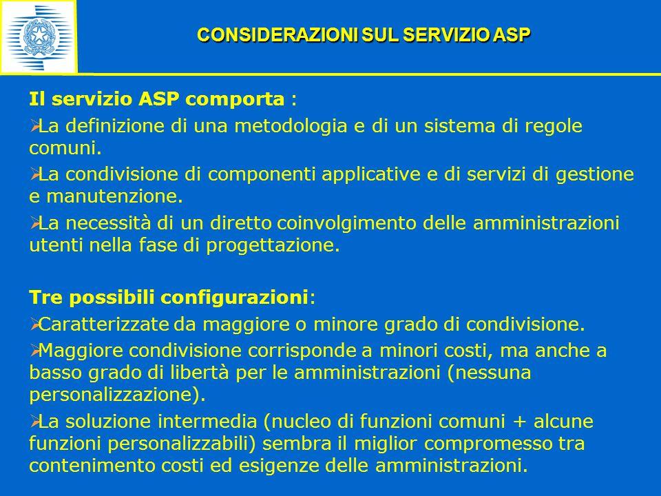 Il servizio ASP comporta : La definizione di una metodologia e di un sistema di regole comuni. La condivisione di componenti applicative e di servizi