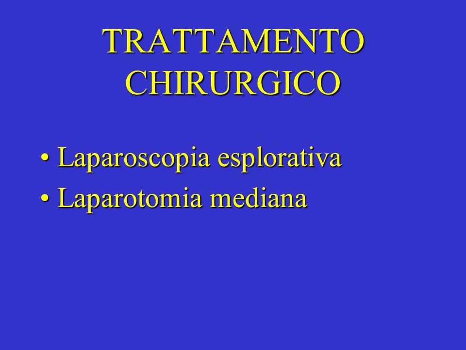 TRATTAMENTO CHIRURGICO Laparoscopia esplorativaLaparoscopia esplorativa Laparotomia medianaLaparotomia mediana